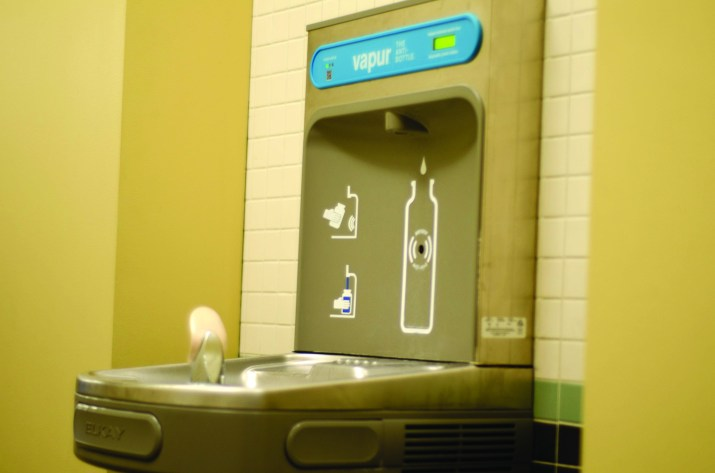 A water bottle station