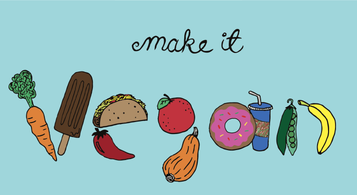 """A graphic saying, """"Make it vegan."""" The word vegan is displayed through assorted foods."""