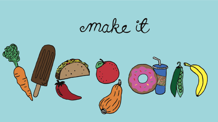 "A graphic saying, ""Make it vegan."" The word vegan is displayed through assorted foods."