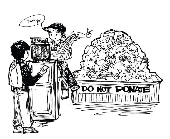 """A graphic of a student with five remaining meal swipes swiping into a dining hall. Behind the counter is a bin with a large pile of food, with the words """"do not donate"""" at the bottom."""