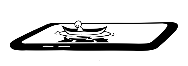 A boat floats on a cartoon drawing of a phone