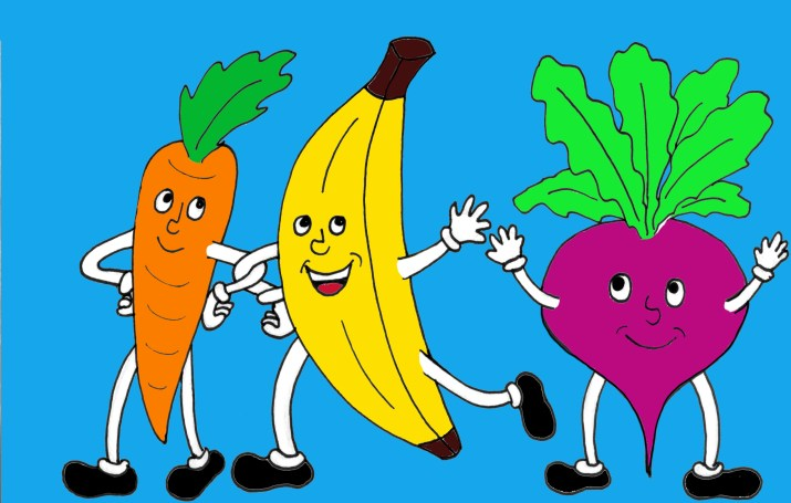 A cartoon drawing of three dancing vegetables