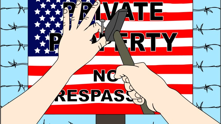 """A graphic of a person nailing a sign onto a pole. The sign says """"Private property no trespassing"""" with the U.S. flag as its background."""