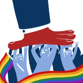 A large hand pushes down against a group of people. One of them holds a long rainbow flag, which stretches across the bottom of the graphic.