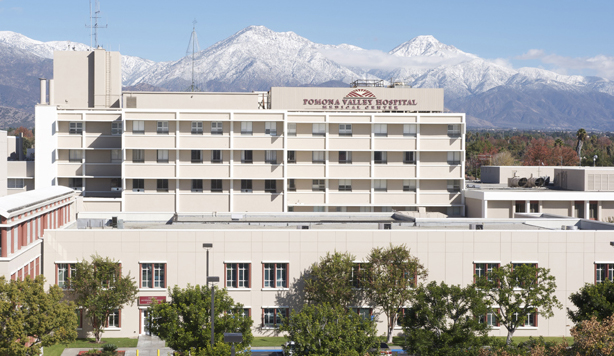The Pomona Valley Hospital Medical Center is a cream and white building.