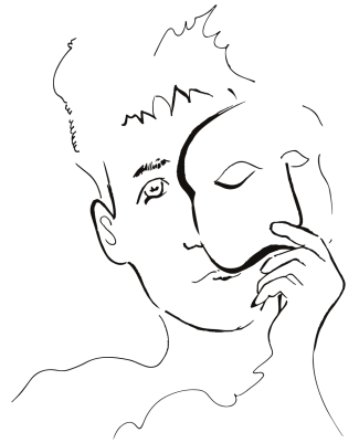 A drawing of a person wearing a mask