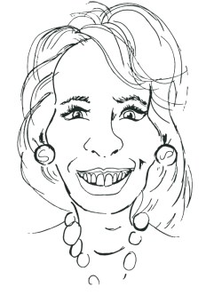 A drawing of Betsey DeVos