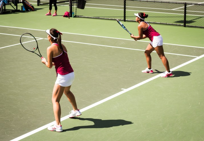 Two tennis players on the court