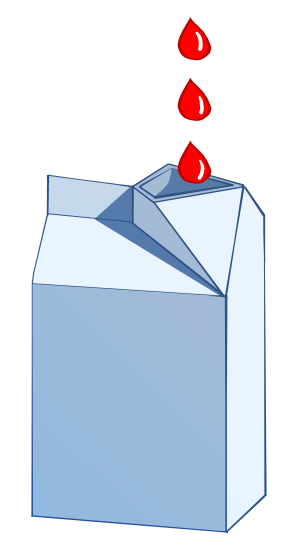 A graphic of a open carton with red drops falling into it.