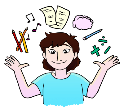 A graphic of an person with pencils, music notes, math symbols and more above their head.