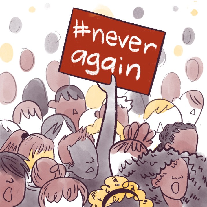 """A cartoon of a crowd and someone holding up a sign that says """"#never again"""""""