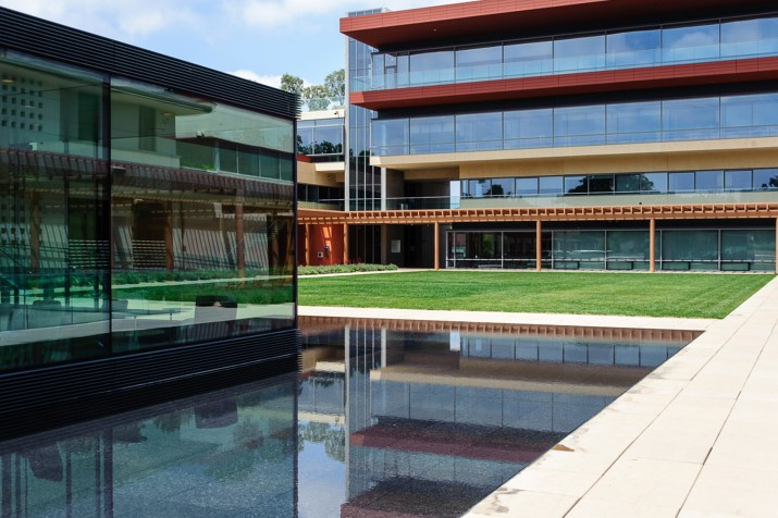 The Cube, a garish glass box at Claremont McKenna, at left, and the Kravis Center, a garish box with less glass, at right