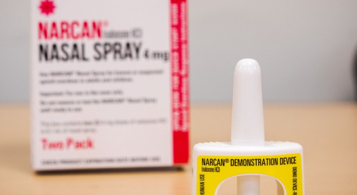A nozzle and box for a Narcan spray.