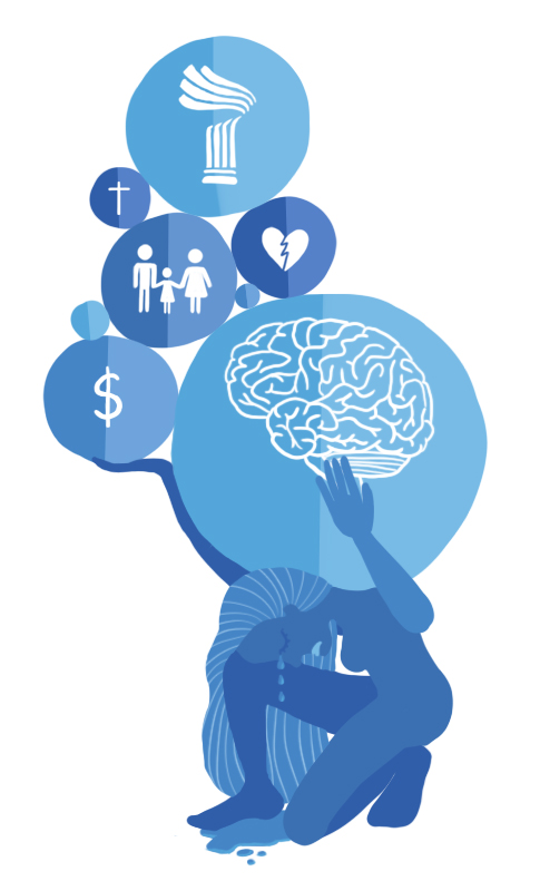 A drawing, all in blue and white, of a person kneeling and crying while holding several circles on their back. The circles contain drawings of a brain, a dollar sign, a broken heart, a cross, a family of two adults and one child, and the Pomona College logo.