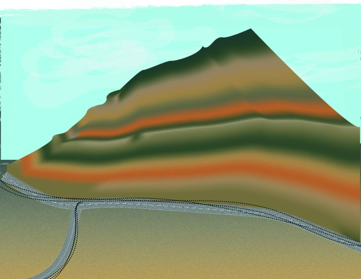 A graphic of a volcano with a green, orange and brown gradient. There is a blue sky behind the volcano and a road at the bottom of the volcano.