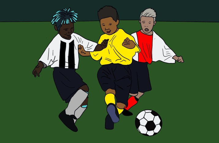 A drawing of the three players mentioned in the article chasing after a soccer ball, but all depicted as little kids instead of teenagers.