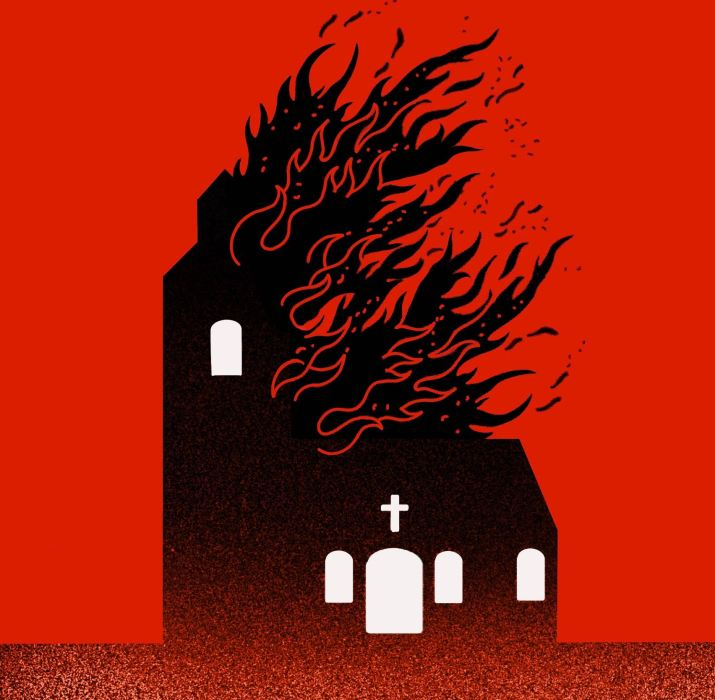 A black outline of a church on fire on a red background