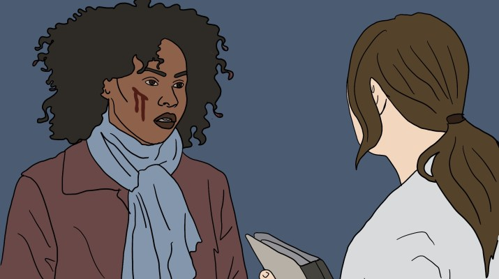 A female doctor talks to a female patient who has a bloody gash on her cheek