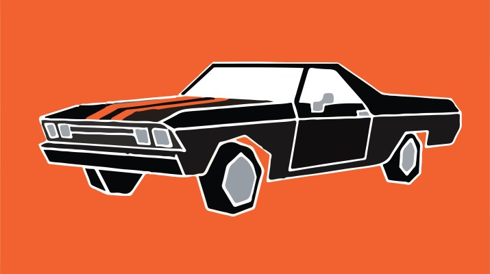 "The titular car, owned by character Jesse Pinkman in Breaking Bad and the new movie ""El Camino. The black car with orange stripes on the hood is displayed in front of a bright orange background."