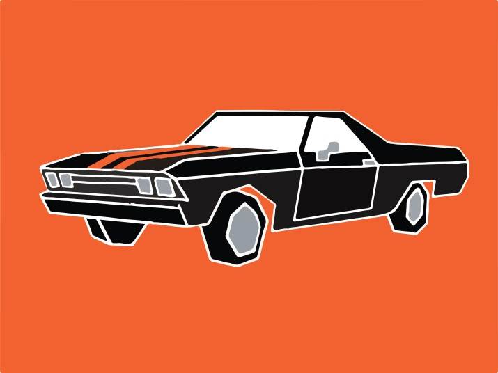 """The titular car, owned by character Jesse Pinkman in Breaking Bad and the new movie """"El Camino. The black car with orange stripes on the hood is displayed in front of a bright orange background."""