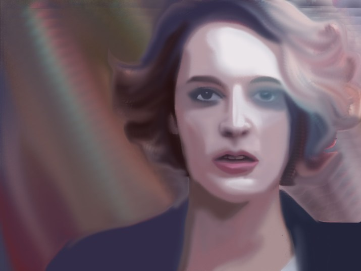 "A blurred depiction of Phoebe Waller-Bridge in the show ""Fleabag."""