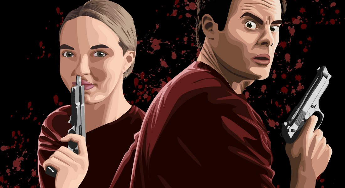 "Bill Hader as the titular character of ""Barry"" clad in red looks surprisedly at the viewer while holding up a gun. He stands next to Jodie Comer as Villanelle in ""Killing Eve,"" who also wears red and holds up a gun to her lips, smiling. The black background is splattered with a maroon blood texture."