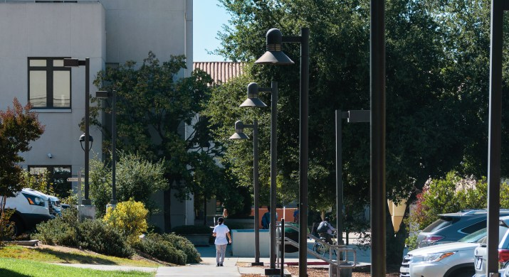 A sidewalk during the day is lined with lamp posts.