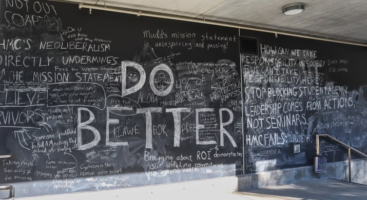 """A photo of a large, black board wall outside with messages written on it by college students. Some of the messages include """"DO BETTER,"""" """"HMC's neoliberalism directly undermines the mission statement,"""" """"Bragging about ROI [return on investment] demonstrates our unfailing commitment to amoral wealth."""""""