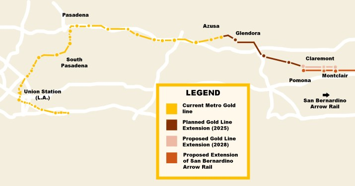 A map depicting the current Metro Gold Line running from LA to Azusa and the proposed extensions through Pomona and Montclair.