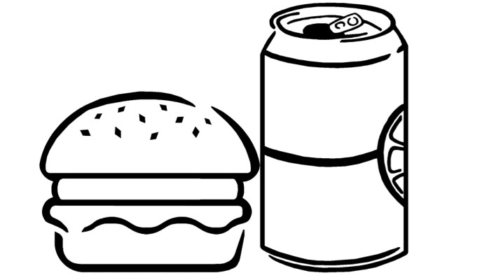 A hamburger drawn in black and white next to a can of soda.