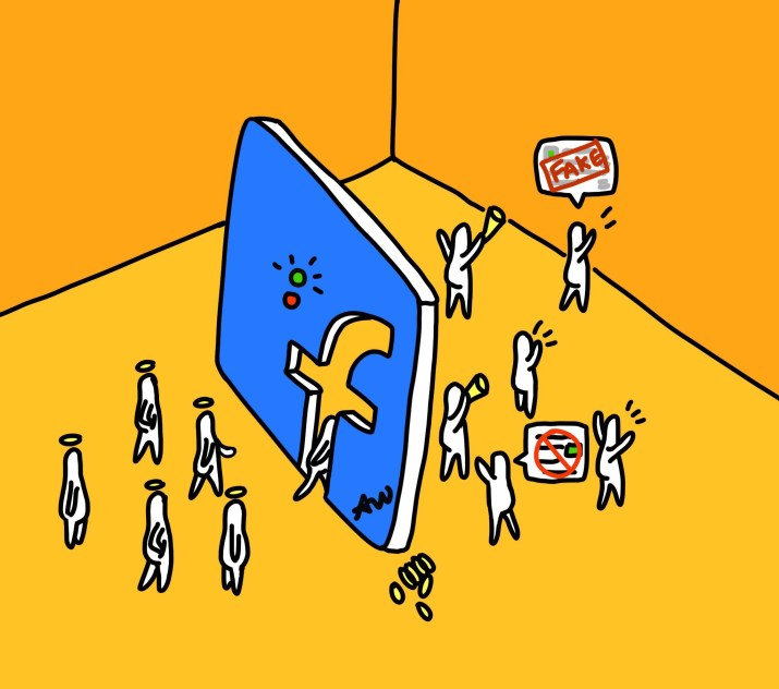 "A blue cutout of the Facebook logo. Some figures passively stand in front of the logo with haloes above their heads, while figures behind the logo have speech bubbles containing the words ""fake news"" above their heads. Other figures behind the logo carry bullhorns."