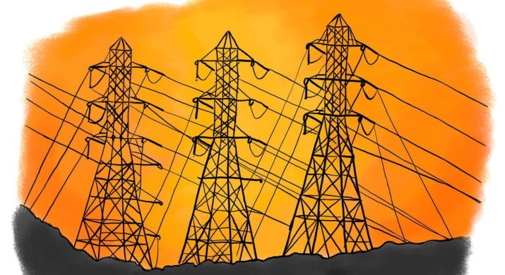 three silhouettes of power lines in front of a fiery yellow and orange sky