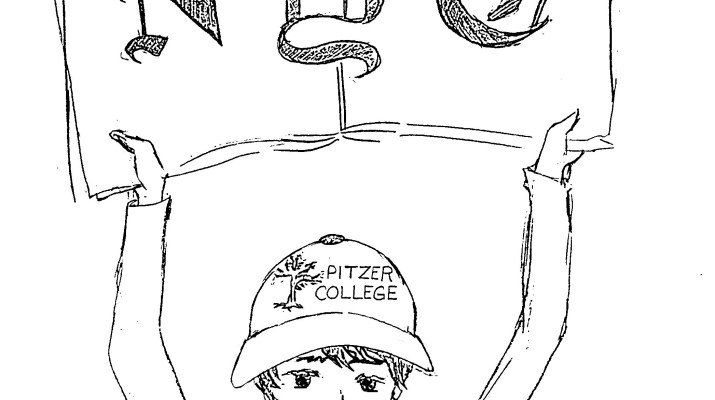 "Drawing of boy holding up newspaper with the letters ""NYT"""