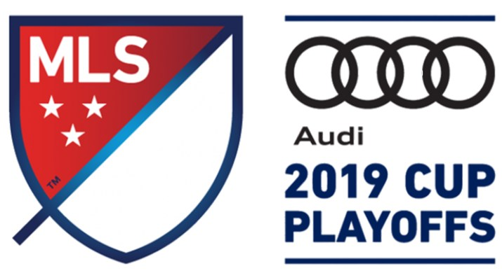 "A red red shield logo with MLS is next to the text ""Audi 2019 Cup Playoffs."""