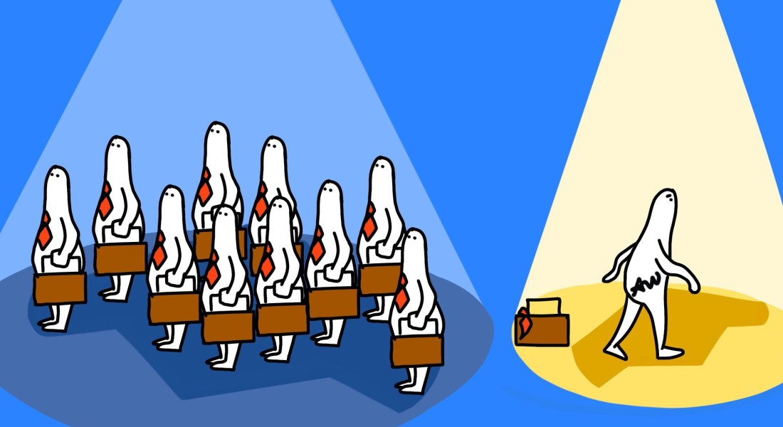 A horde of people in red ties holding briefcases. A person in a yellow spotlight walks away from a lone briefcase and tie.