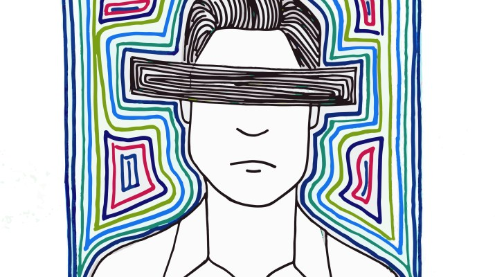 """Jeong Ji-So as Da-Hye in the film """"Parasite."""" His eyes are covered by a black bar and the background is made up of multicolored spirals."""