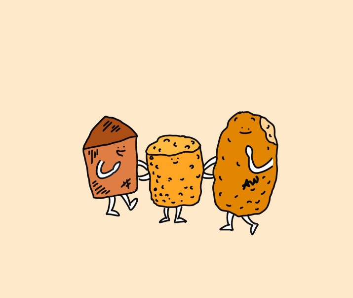 Three anthropomorphized potatoes smile at one another, linking arms.