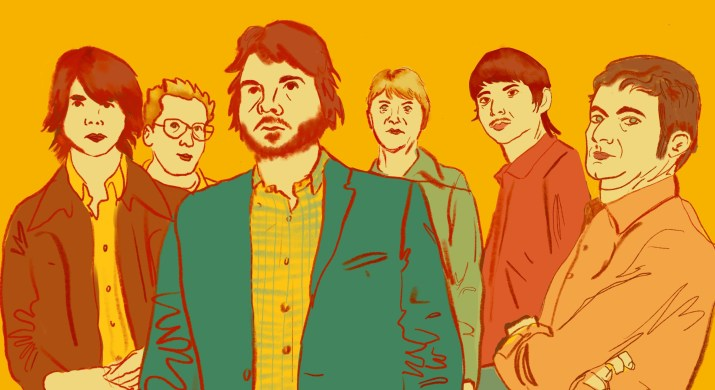 """A drawing of the members of the indie band """"Wilco"""" with a yellow background."""