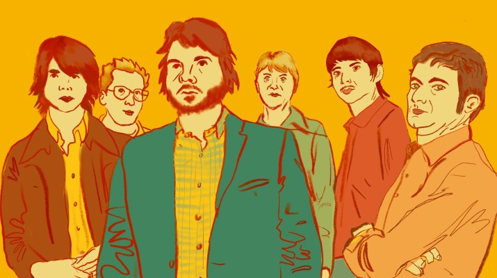 "A drawing of the members of the indie band ""Wilco"" with a yellow background."