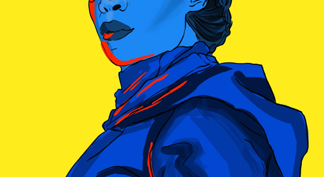 "Regina King as Angela Abraham in the TV show ""Watchmen."" She wears a black eye mask and is clad in dark blue."
