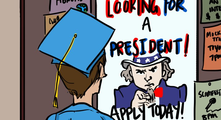 """A person in a graduation cap and gown looks at a poster of Uncle Sam that says """"looking for a president, apply today!"""""""