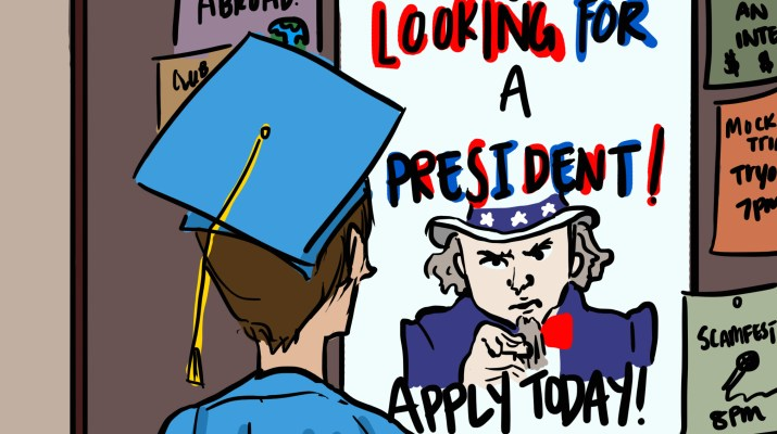 "A person in a graduation cap and gown looks at a poster of Uncle Sam that says ""looking for a president, apply today!"""