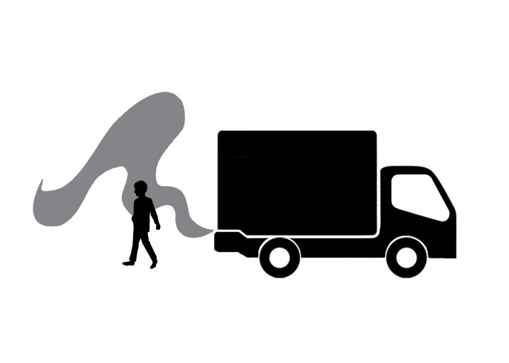 A truck silhouette with gray smoke leaving the tailpipe. A person's silhouette stands amidst the smoke