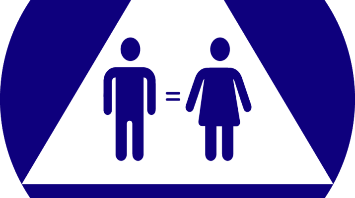 "A restroom sign composed of a blue circle and a white triangle. On top of the white triangle, there is a blue ""man"" figure, a blue equals signs and a blue ""woman"" figure."