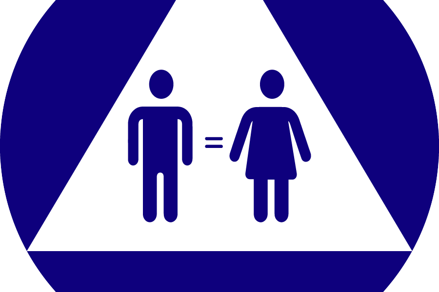 """A restroom sign composed of a blue circle and a white triangle. On top of the white triangle, there is a blue """"man"""" figure, a blue equals signs and a blue """"woman"""" figure."""