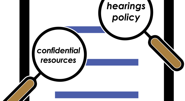 """A document entitled """"Title IX Policy."""" Two magnifying glasses hover over the document. One is """"magnifying"""" the words """"hearings policy"""" and the other is """"magnifying"""" the words """"confidential resources."""""""