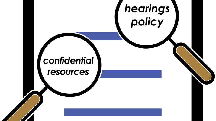 "A document entitled ""Title IX Policy."" Two magnifying glasses hover over the document. One is ""magnifying"" the words ""hearings policy"" and the other is ""magnifying"" the words ""confidential resources."""