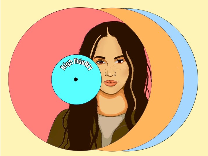 """Portrait of a young woman on a stack of red, orange, and blue CDs labeled """"High Fidelity"""""""