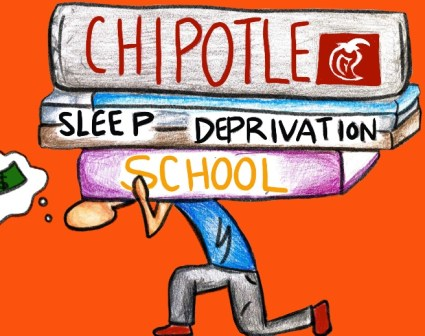 A person carries heavy load of textbooks labeled School, Sleep Deprivation, and Chipotle on top. The person is thinking about money, in a speech bubble.
