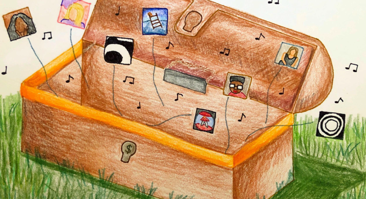 A pandora's chest box is shown with multiple music albums floating out of it.